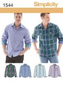 1544 Simplicity Pattern: Men's Shirt with Fabric Variations